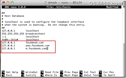 how to block facebook on mac by hosts entry