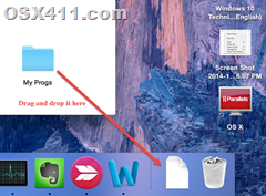 Move the folder to dock in 10.10 OS X