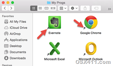 aliases on Yosemite Group icons
