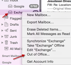 out of office in Yosemite mail