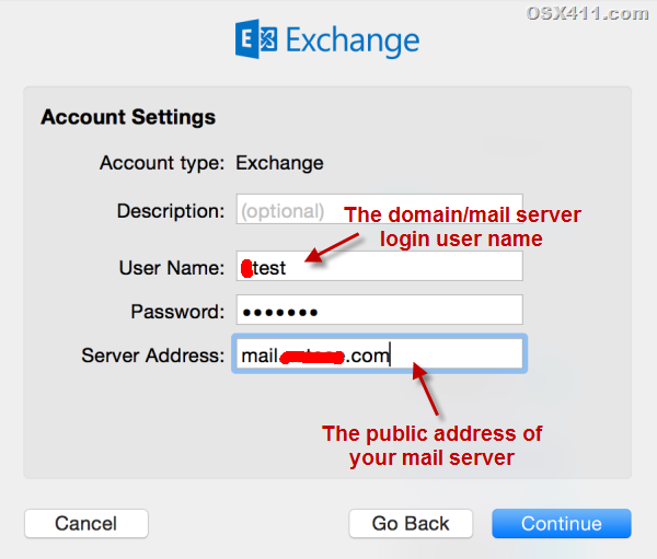 user name for exchange 2013 on Mac